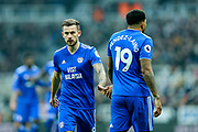 Joe Ralls (#8) of Cardiff City acknowledges Nathaniel Mendez-Laing (#19) of Cardiff City during the Premier League match between Newcastle United and Cardiff City at St. James's Park, Newcastle, England on 19 January 2019.