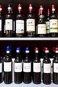 Rioja red wines Vina Ardanza, Vina Arana, La Rioja Alta, Mazuela de la Quinta, Miguel Merina, Torre de Ona, in Pepita Uva shop in Laguardia, Rioja-Alavesa, Spain