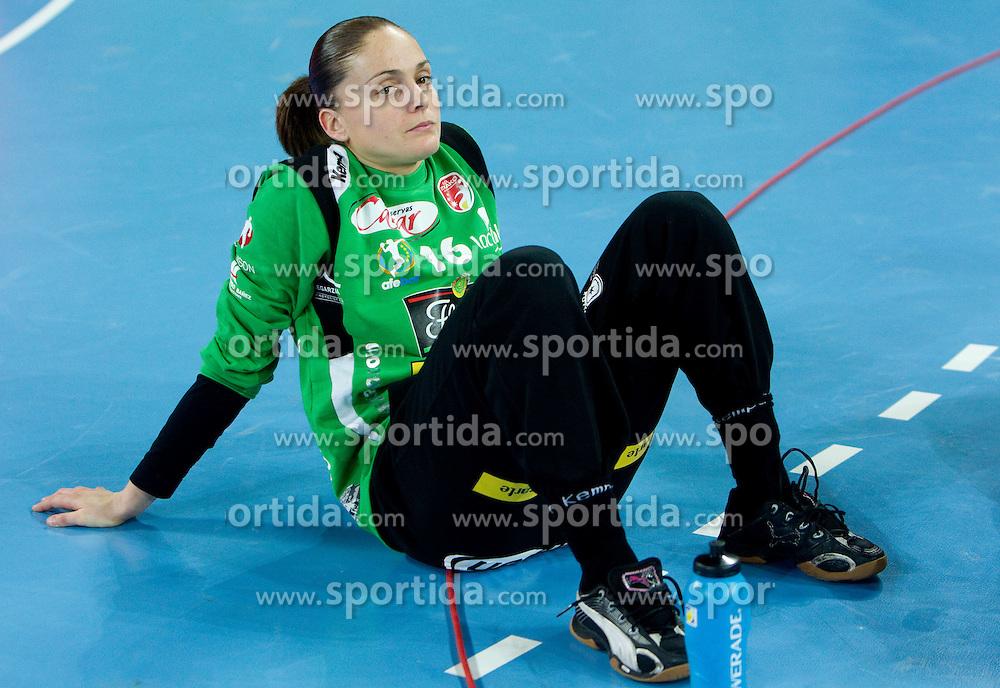 Silvia Navarro of Itxako after the handball match between RK Krim Mercator (SLO) and Itxako Reyno de Navarra (ESP) in Main Round of Women's Champions league, on February  4, 2011 at SRC Stozice, Ljubljana, Slovenia. Krim defeated Itxako 30-26. (Photo By Vid Ponikvar / Sportida.com)