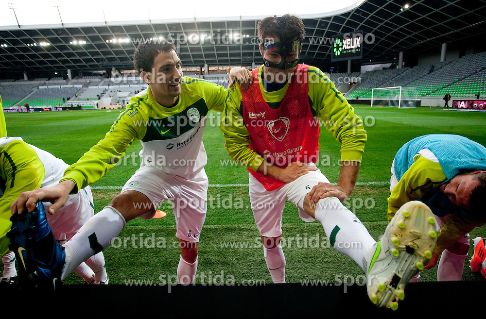 Branko Ilic and Bostjan Cesar during practice session of National team of Slovenia 1 day before EURO 2012 Qualifications match against Italy, on March 24, 2011, SRC Stozice, Ljubljana, Slovenia. (Photo by Vid Ponikvar / Sportida)
