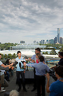 Novak Djokovic(SRB)[3].Novak Djokovic with the Australian Open Mens Singles Trophy photographed from the Melbourne Cricket Ground balcony with Melbourne Park Tennis Complex and the city of Melbourne in the background..2011 Australian Open Tennis.Level 4, Melbourne Cricket Ground, Melbourne Park, Melbourne, Victoria, Australia.31/01/11.Photo By Lucas Wroe