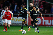 Wimbledon midfielder Andy Barcham (17) in action  during the The FA Cup 3rd round match between Fleetwood Town and AFC Wimbledon at the Highbury Stadium, Fleetwood, England on 5 January 2019.