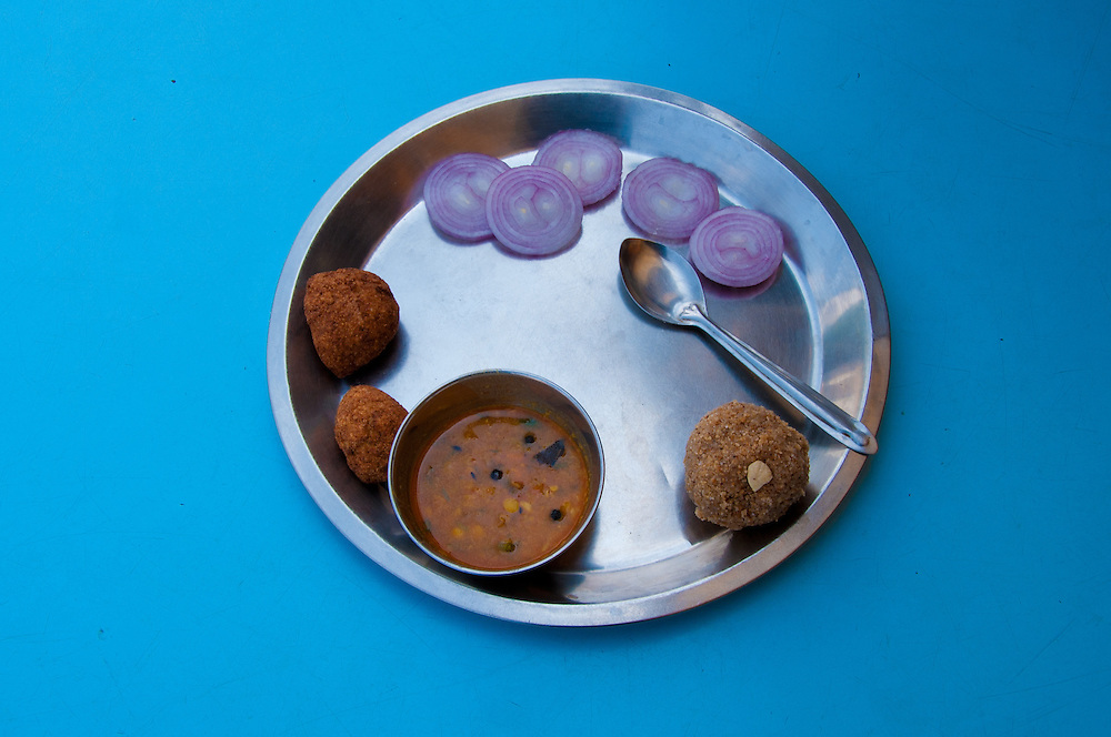Dal-Baati-Churma, consisting of three items of bati, dal (lentils), and churma, is a Rajasthani dish.[2] It is commonly eaten at festivities, including religious occasions, wedding ceremonies, and birthday parties in Rajasthan. One of the reasons for this is that it is easy to cook in small or large quantities, and is thus easily made for large gatherings of people.
