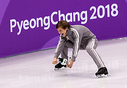 February 12, 2018 - Gangneung, South Korea - Mikhail Kolyada of Olympic Athlete from Russia celebrate after winning the Silver medal during the Team Event Men Single Skating FS at the PyeongChang 2018 Winter Olympic Games at Gangneung Ice Arena on Monday February 12, 2018. (Credit Image: © Paul Kitagaki Jr. via ZUMA Wire)