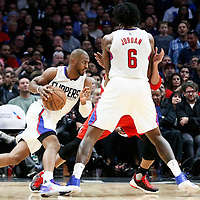 12 December 2016: LA Clippers guard Chris Paul (3) drives on a screen set by LA Clippers center DeAndre Jordan (6) during the LA Clippers 121-120 victory over the Portland Trail Blazers, at the Staples Center, Los Angeles, California, USA.