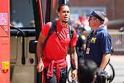 Liverpool defender Virgil van Dijk (4) arrives at the stadium off the coach during the Manchester United and Liverpool International Champions Cup match at the Michigan Stadium, Ann Arbor, United States on 28 July 2018.