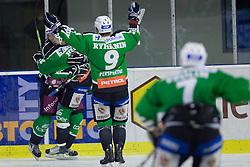 Team HDD Tilia Olimpija celebrates goal during ice-hockey match between HDD Tilia Olimpija and Moser Medical Graz99ers in 10th Round of EBEL league, on October 10, 2010 at Hala Tivoli, Ljubljana, Slovenia. (Photo By Matic Klansek Velej / Sportida.com)