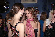 Margo Stilley and LouLou Stoffel. Zac Posen Spring/ Summer collection launch party. The Blue Bar, Berkeley Hotel. London. 7 March 2004. Dafydd Jones,  ONE TIME USE ONLY - DO NOT ARCHIVE  © Copyright Photograph by Dafydd Jones 66 Stockwell Park Rd. London SW9 0DA Tel 020 7733 0108 www.dafjones.com