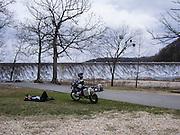 Bill Dragoo taking an afternoon nap at Spavinaw Lake dam.