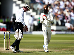 Moeen Ali of England applauds the umpire after he accidentally blocks the ball - Mandatory by-line: Robbie Stephenson/JMP - 08/07/2017 - CRICKET - Lords - London, United Kingdom - England v South Africa - Investec Test Series