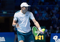 Tennis - 2017 Nitto ATP Finals at The O2 - Day Two<br /> <br /> Mens Doubles: Group Woodbridge/Woodforde: Jamie Murray (Great Britain) & Bruno Soares (Brazil) Vs Bob Bryan (United States) & Mike Bryan (United States)<br /> <br /> Bob Bryan (United States) with a blocked return at the O2 Arena<br /> <br /> COLORSPORT/DANIEL BEARHAM
