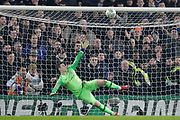 Tottenham Hotspur midfielder Eric Dier (15) puts his penalty above the crossbar, during the EFL Cup semi final second leg match between Chelsea and Tottenham Hotspur at Stamford Bridge, London, England on 24 January 2019.