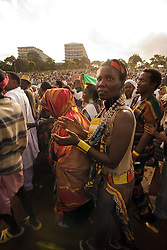 Ethiopians at Uhuru's Park, during the VII World Social Forum opening march. There were about hundred Ethiopian people at the VII World Social Forum. Their most important issues and debates on this Forum were on Good Governance, its heritage and prospects; gender perspective; trade issues and the role of youth in the African Union.<br /> Nairobi city, Kenya.