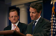 Secretary of The Treasury Timothy Geithner and Press Secretary Robert Gibbs at the briefing in the White House Press Briefing Room on April 14, 2010.  Photo by Dennis Brack