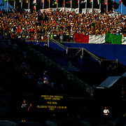 In the late afternoon Roman sunshine Federica Pellegrini, Italy, thrills the local crowd by winning the Women's 200m Freestyle event at the World Swimming Championships in Rome on Wednesday, July 29, 2009. Photo Tim Clayton.