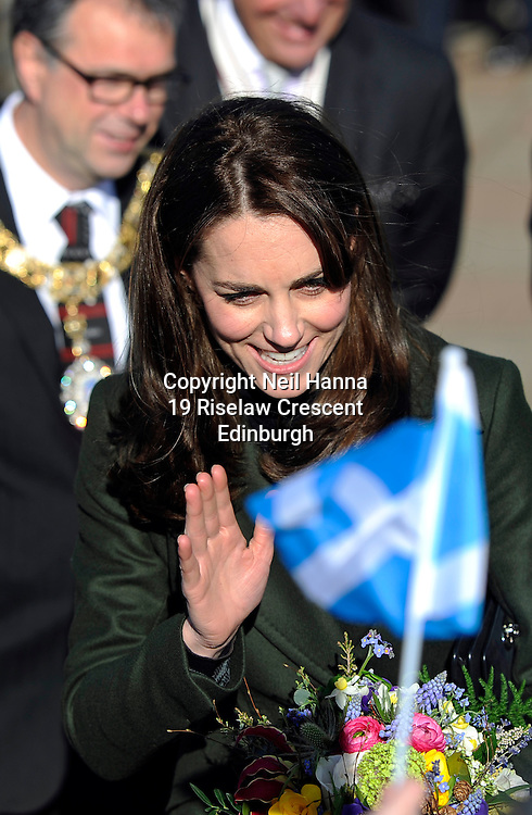 JP License<br /> <br /> THE DUCHESS OF CAMBRIDGE EDINBURGH VISIT.<br /> <br /> The Duchess of Cambridge, also known as The Countess of Strathearn in Scotland, visited three school based charity projects in Edinburgh on Wednesday 24th February. <br /> <br /> The focus of the day is on the valuable partnerships that exist locally between charities, communities and schools to deliver a range of integrated programmes and sporting activities designed to nurture children and young people. <br /> <br /> In the morning, Her Royal Highness  continued her work in support of the mental health of children with visits to two of her patronages who have a presence in Edinburgh -   Place2Be and The Art Room. <br /> <br /> Place2Be has been working in Scotland since 2001. The charity now works in 28 schools in some of the most disadvantaged areas of Edinburgh and Glasgow, reaching a school population of 8,000 children. Place2Be is the UK's leading children's mental health charity providing in-school support and expert training to improve the emotional wellbeing of pupils, families, teachers and school staff.<br /> <br /> Her Royal Highness  joined the school assembly where students  sang a song of welcome and presented a Quaich cup of friendship. The Duchess will then join headteachers from schools in Edinburgh for a discussion about the mental health challenges of their school communities, and the benefits of having a partnership with Place2Be.  <br />  <br /> The Duchess  meet children and parents to hear about Place2Be's work with families, alongside health professionals who have undertaken Place2Be's training to develop much-needed child counselling expertise.  <br /> <br /> <br />  Neil Hanna Photography<br /> www.neilhannaphotography.co.uk<br /> 07702 246823