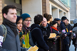 Protesters man a picket line outside Birkbeck College on the UCL campus. Students and staff at UCL man picket lines as and estimated 40,000 University and College Union (UCU) lecturers and academics across the UK strike over changes to their pensions. The strike is the first in a planned series of 14 days of walkouts. UCL, London, February 22 2018.