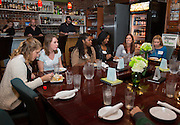 """Ohio University students participate in the Homecoming """"Dinner with 12 Strangers"""" event at Sol on Oct. 8, 2014. Photo by Lauren Pond"""