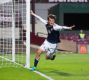 Scotland's Liam Henderson celebrates after netting late on, only for the goal to be disallowed during Scotland Under-21 v FYR Macedonia,  UEFA Under 21 championship qualifier  at Tynecastle, Edinburgh. Photo: David Young<br /> <br />  - &copy; David Young - www.davidyoungphoto.co.uk - email: davidyoungphoto@gmail.com