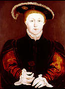 Edward VI (1537-1553) king of England and Ireland from 1547. Son of Henry VIII and his third wife, Jane Seymour.  Always a sickly child, he died of natural causes.   Anonymous portrait