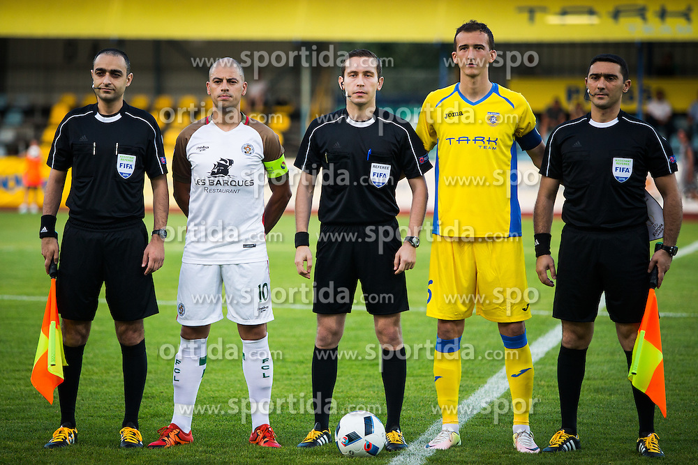 Referees and Luis Reis Dos of FC Lusitanos and Kenan Horic of NK Domzale during football match between NK Domzale and FC Lusitanos Andorra in first match of UEFA Europa League Qualifications, on June 30, 2016 in Sports park Domzale, Domzale, Slovenia. Photo by Ziga Zupan / Sportida