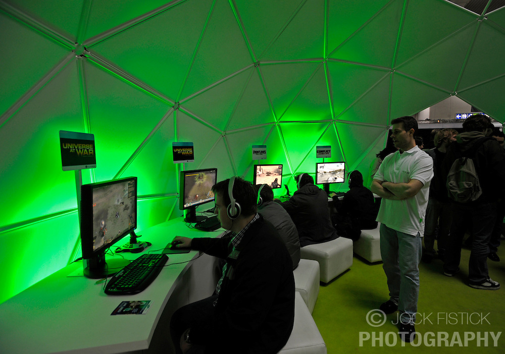 HANNOVER, GERMANY - MARCH-7-2008 - Gamers play Universe at War in the gaming pavilion at CeBIT. (Photo © Jock Fistick)