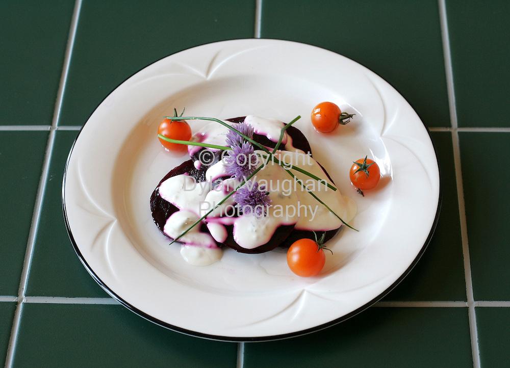 25/9/2004.Eugene McSweeny Food week 74 for Weekender.Starter Fresh beetroot with ceaser dressing..Picture Dylan Vaughan