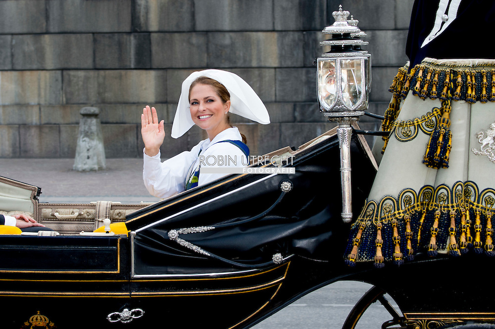 6-6-2016 STOCKHOLM SWEDEN - Stockholm CrownPrincess Victoria and Princess Estelle and Prince Daniel leaving the palace attend the the carriage procession  in Stockholm during the celebration of the National Day of Sweden.  COPYRIGHT ROBIN UTRECHT<br />