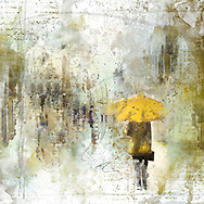 Sketch of a person with a yellow umbrella against city elements on a light yellow and brown watercolor background