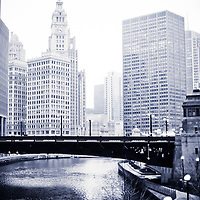 Chicago River skyline in black and white with the Wrigley Building