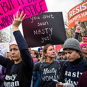 Demonstrators during the Women's March in Oakland, CA, January 21, 2017.