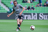 Newcastle Jets midfielder Angus Thurgate (32) passes the ball during warm up at the Hyundai A-League Round 6 soccer match between Melbourne City FC and Newcastle Jets at AAMI Park in Melbourne.