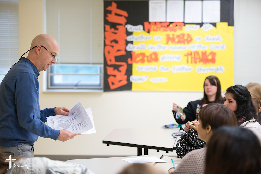 Professor Jeffrey Keiser leads class in the Christopher Center on the campus of Concordia University Chicago in River Forest, Ill., on Friday, Oct. 10, 2014. LCMS Communications/Erik M. Lunsford