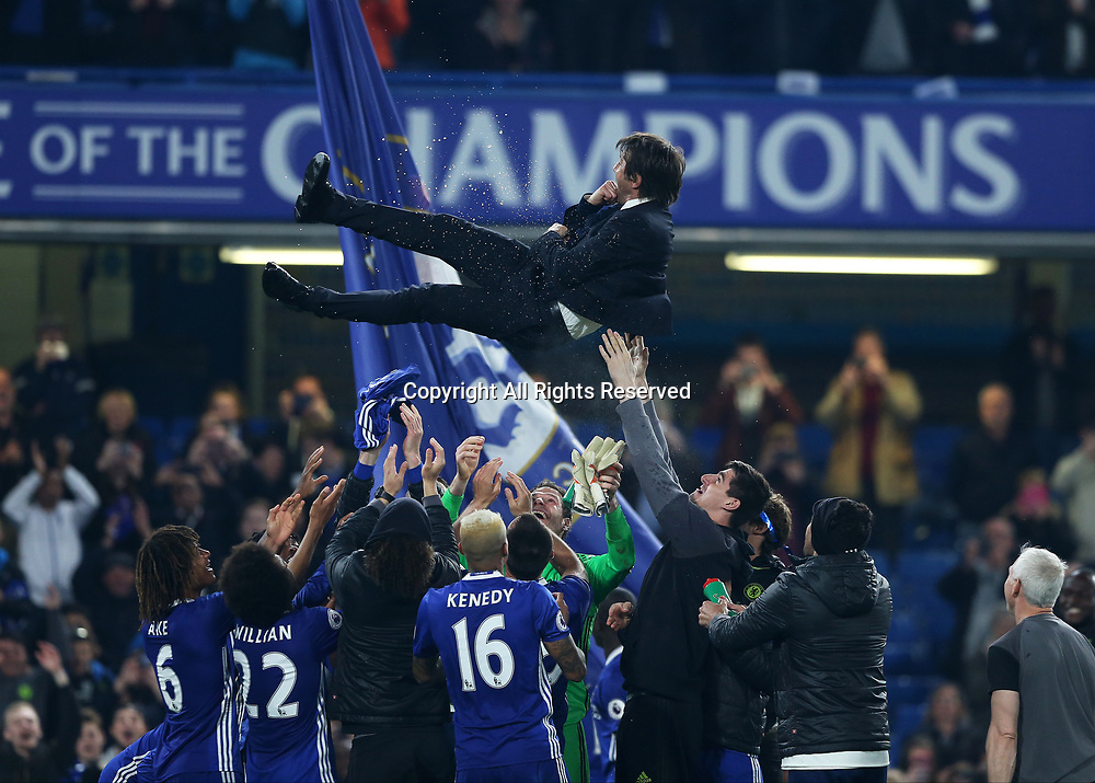 May 15th 2017, Stamford Bridge, London, England; EPL Premier League football, Chelsea FC versus Watford; Chelsea Manager Antonio Conte is lifted in the air by the Chelsea players after full time in celebration as Chelsea are 2016/17 Premier League Champions