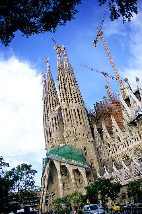 The Sagrada Familia Antonio Gaudi's religious masterwork is under construction in Barcelona Spain. This image shows progress as of October 2006. The Sagrada Família is Antoni Gaudí's Roman Catholic masterpiece of a church in Barcelona, Spain. Construction is still on-going.