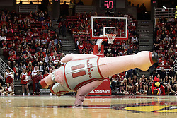 05 December 2015: Zooperstar Yao Flamingo performs a horizontal hand stand. Illinois State Redbirds host the University of Alabama - Birmingham Blazers at Redbird Arena in Normal Illinois (Photo by Alan Look)