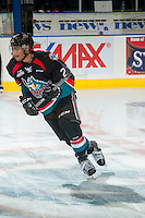 KELOWNA, CANADA - NOVEMBER 15: Devante Stephens #21 of the Kelowna Rockets warms up against the Prince George Cougars on November 15, 2016 at Prospera Place in Kelowna, British Columbia, Canada.  (Photo by Marissa Baecker/Shoot the Breeze)  *** Local Caption ***