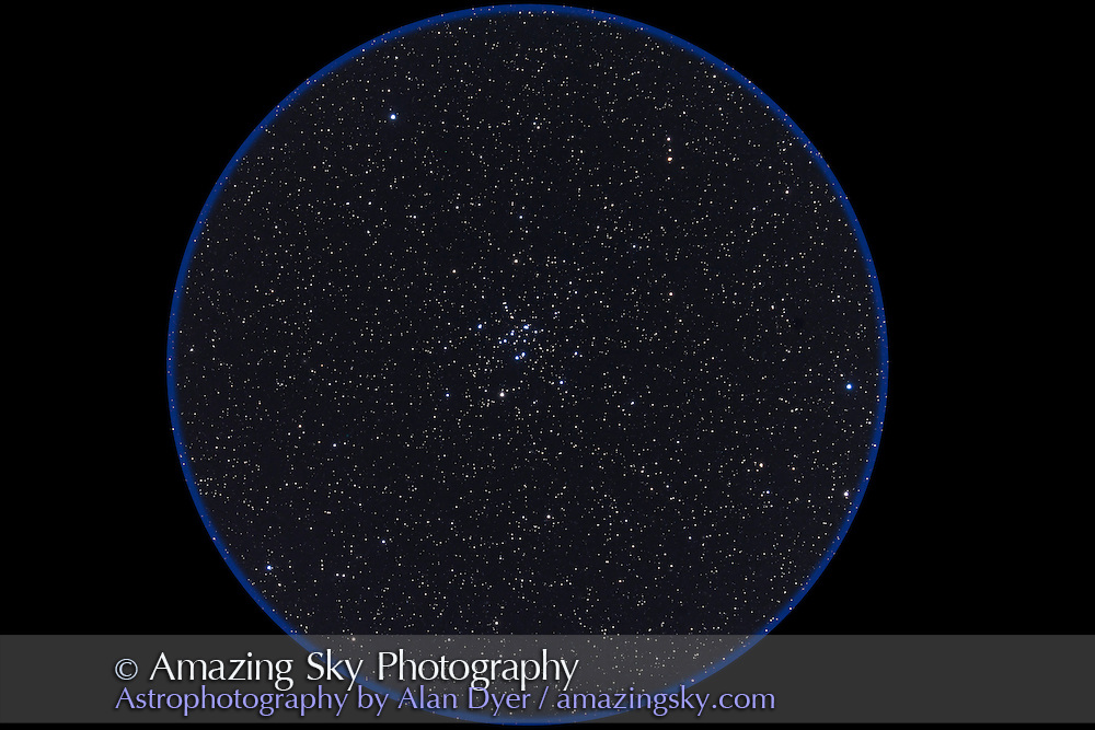 M34 in Perseus with Canon 5D MkII and 105mm A&M apo refractor with .85x Borg reducer/flattener. Stack of 4 x 6 minute exposure at ISO 1600. Some aberration at right could be from camera being off angle a bit in adapter.