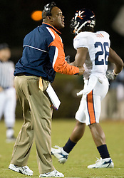 Virginai defensive coordinator Mike London..The #19 Virginia Cavaliers defeated the Miami Hurricanes 48-0 at the Orange Bowl in Miami, Florida on November 10, 2007.  The game was the final game played in the Orange Bowl.