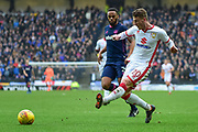Milton Keynes midfielder (on loan from Stoke City) Josh Tymon (20) gets in a cross during the EFL Sky Bet League 1 match between Milton Keynes Dons and Portsmouth at stadium:mk, Milton Keynes, England on 10 February 2018. Picture by Dennis Goodwin.