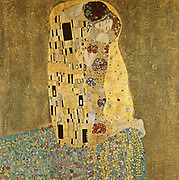 Gustav Klimt 1862 – 1918. 'The Kis' was painted by Gustav Klimt, and is probably his most famous work. He began work on it in 1907 and it is the highpoint of his so-called 'Golden Period'. It depicts a couple, in various shades of gold and symbols, sharing a kiss against a bronze background.
