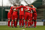York City  huddle up during the Sky Bet League 2 match between Yeovil Town and York City at Huish Park, Yeovil, England on 2 January 2016. Photo by Simon Davies.