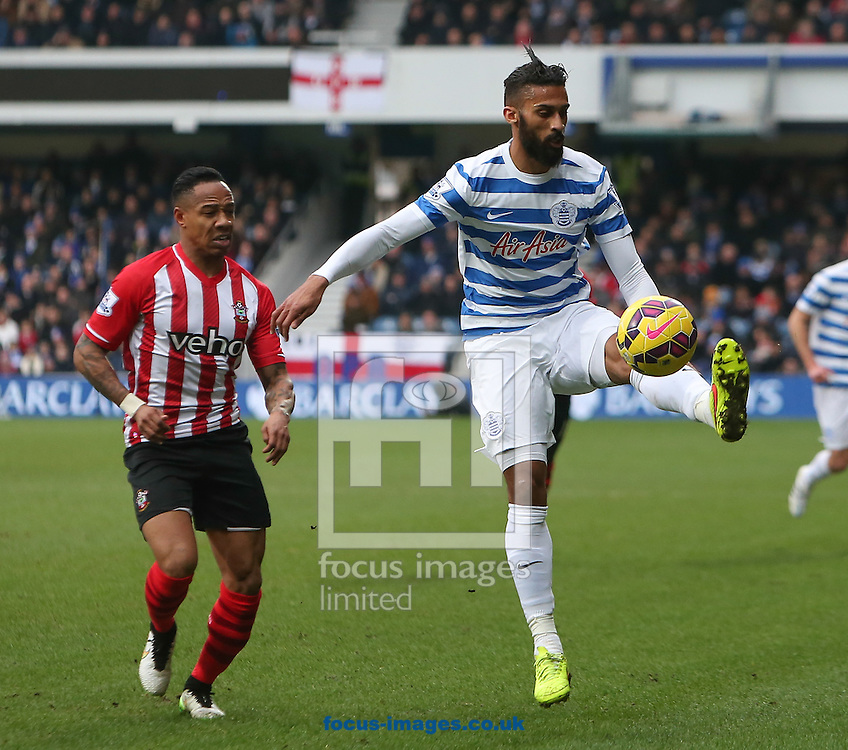 Armand Traore of Queens Park Rangers and Nathaniel Clyne of Southampton during the Barclays Premier League match at the Loftus Road Stadium, London<br /> Picture by John Rainford/Focus Images Ltd +44 7506 538356<br /> 07/02/2015