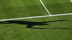 General view of Great Britain's Andy Murray's shadow during day two of the Nature Valley International at Devonshire Park, Eastbourne. PRESS ASSOCIATION Photo. Picture date: Monday June 25, 2018. See PA story TENNIS Eastbourne. Photo credit should read: Steven Paston/PA Wire. RESTRICTIONS: Editorial use only, no commercial use without prior permission