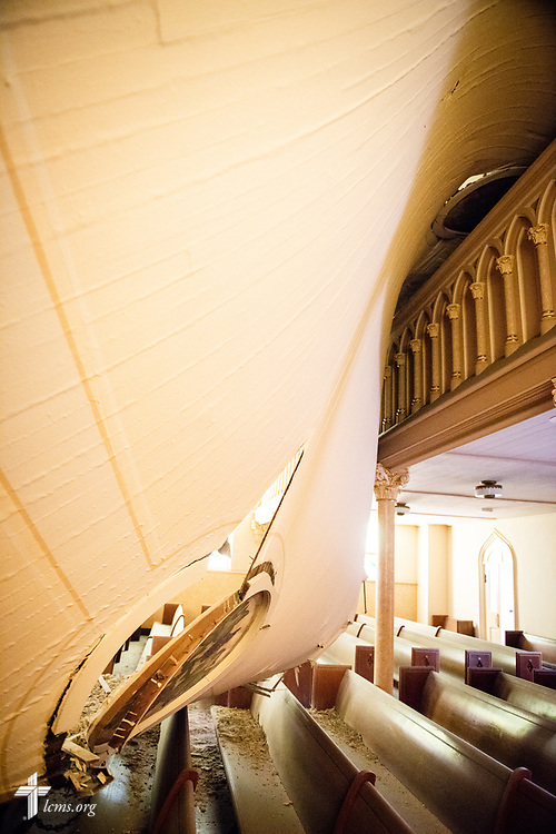 The sanctuary of Immanuel Lutheran Church, St. Charles, Mo., on Monday, June 4, 2018. The entire baptismal side of the sanctuary interior ceiling collapsed May 29 at 1.29 a.m. in the morning. No one was injured in the collapse. LCMS Communications/Erik M. Lunsford
