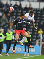 Derby Cyrus Christie Holds of Reading Al Robson-Kanu, Derby County v Reading, FA Cup 5th Round, The Ipro Stadium, Saturday 14th Febuary 2015