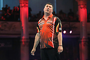 Mensur Suljovic misses a chance to hit a nine dart finish during the BetVictor World Matchplay Darts 2018 final at Winter Gardens, Blackpool, United Kingdom on 29 July 2018. Picture by Shane Healey.