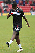 Grimsby Town midfielder Diallang Jaiyesimi (20) warming up prior to the EFL Sky Bet League 2 match between Grimsby Town FC and Port Vale at Blundell Park, Grimsby, United Kingdom on 10 March 2018. Picture by Mick Atkins.