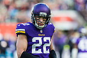 Minnesota Vikings Free Safety Harrison Smith (22) warms up during the International Series match between Cleveland Browns and Minnesota Vikings at Twickenham, Richmond, United Kingdom on 29 October 2017. Photo by Jason Brown.