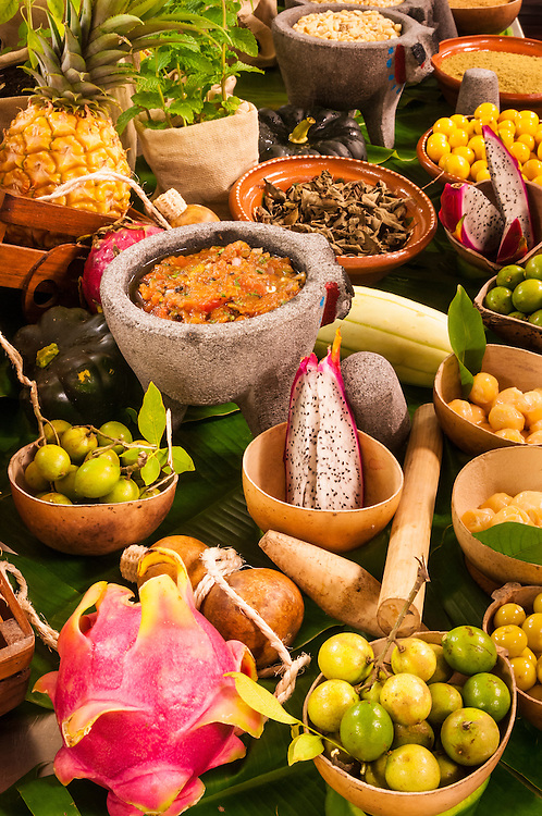 Locally grown and prepared food displayed on a culinary tour and Mexican cooking demonstration at The Royal resort hotel, Playa del Carmen, Riviera Maya, Mexico.